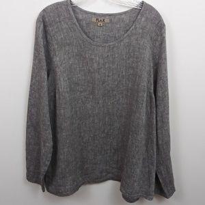 Flax Grey long sleeve Linen pullover Lagenlook top